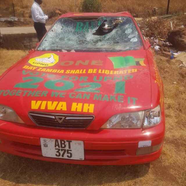 Kasama Police arrest PF thugs for damaging opposition vehicle
